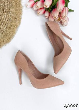 Туфли лодочки женские пудра замшевые
