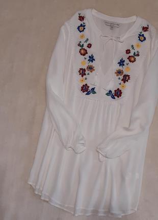 Белая лёгкая блузка с вышивкой длинный рукав вискоза размер 12-14 f&f