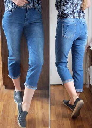 Трендовые укороченные с вышивкой джинсы george