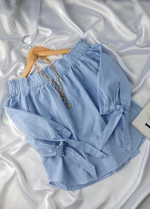 Рубашка с открытыми плечами блуза в клетку котоновая натуральная с объемными рукавами