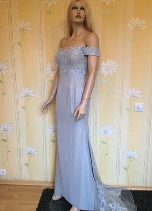 Новое с биркой платье вечернее выпускное свадебное с шлейфом adas bridal размер s