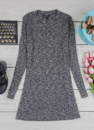 Платье-туника трикотажное серое от topshop размер uk 10 наш р. 44