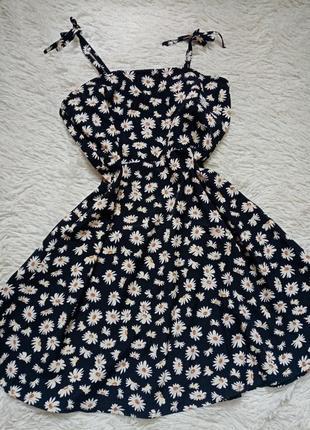 Черный сарафан в цветы shein, 140 146