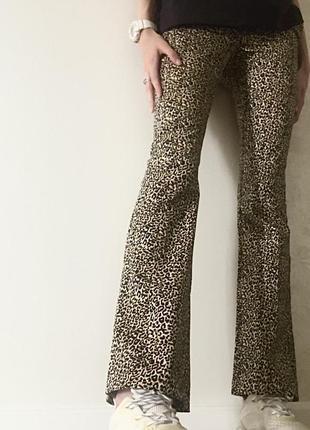 Леопардовые штаны клёш