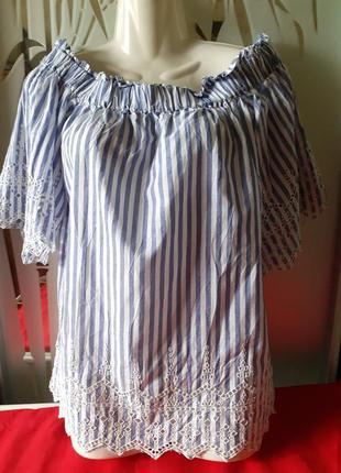 Хлопковая блуза h&m с вышивкой