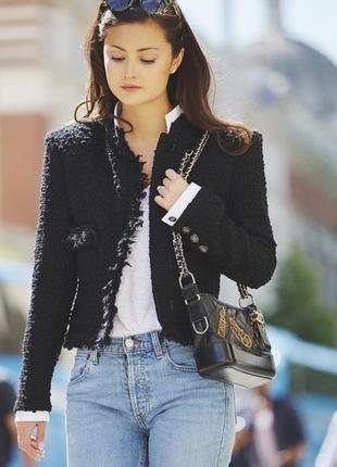 Пиджак в стиле chanel, чорний піджак, винтаж, пиджак