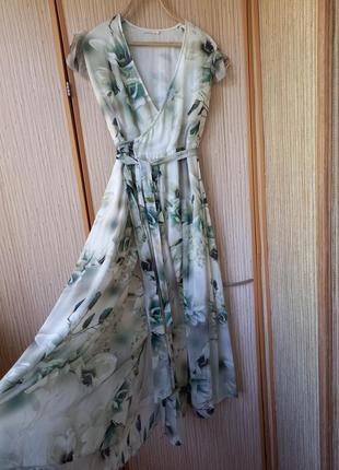 Платье, плаття, платье на запах, платье халат,шелковое платье