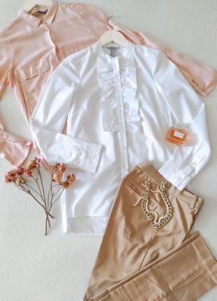 Красивая натуральная белая блуза рубашка с воланом на планке h&m