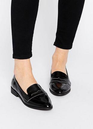 Новые лоферы черные лаковые туфли низком мокасины кожзам кожа эко zara минимализм