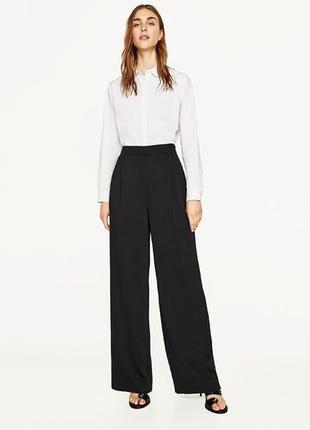 Чёрные базовые широкие штаны брюки палаццо кюлоты клёш