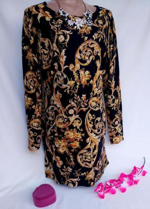 Шикарное теплое платье свободного кроя в королевский принт размер 14 (44-48)
