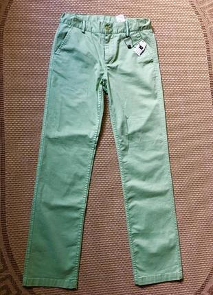 Стильные брюки джинсы прямые зеленые
