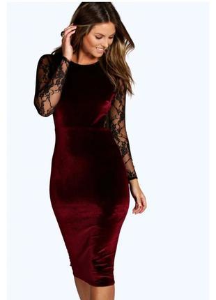 Шикарное вечернее велюровое платье винного цвета с гипюровой спинкой 🍷