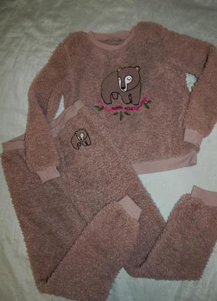 Пижама плюшевая ультрамягкая тёплая кофта штанишки р10-12