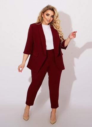 Костюм тройка с брюками жакет блузка стильный