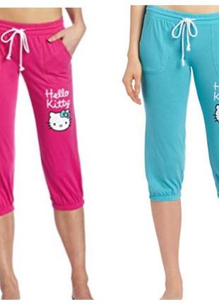 Капри женские hello kitty турция s, m,малиновый, голубой, хлопок