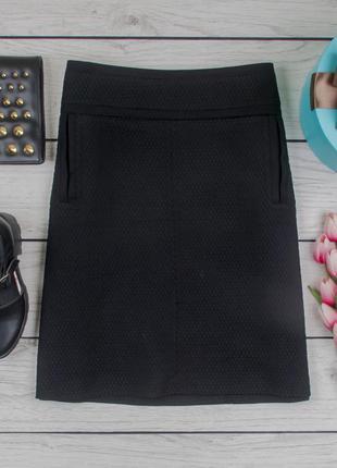 Юбка трапеция фактурная плотная черная от marks & spencer размер uk 14 наш р. 48