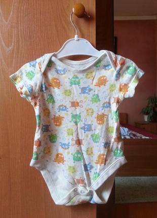 Бодик с рисунками на малыша 3-6 месяцев