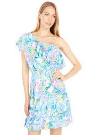 Летнее воздушное платье на одно плечо