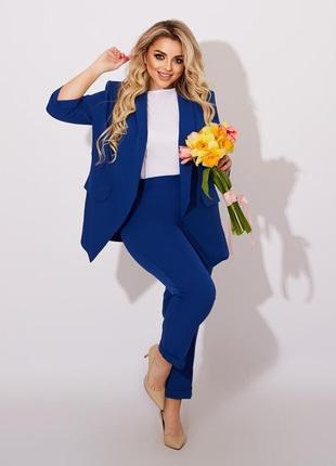 Костюм тройка брюки жакет блузка стильный