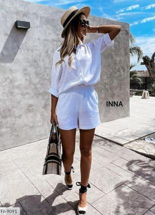 Льняной костюм🔥 шорты рубашка женский летний комплект