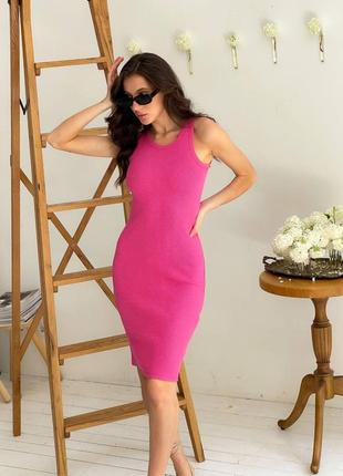 🌹 стильное платье резинка в рубчик малиновое