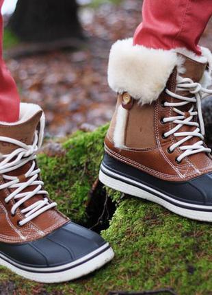 Зимние новые сrocs allcast luxe duck boot 33-34р натуральный мех