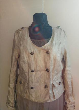 Льняной пиджак с золотым напылением