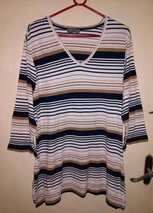Трикотажная блузка-туника с люрексовой полоской,большого размера,ulla popken