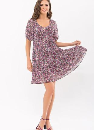 Фиолетовое короткое летнее платье, арт. 69220