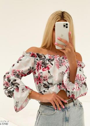 Женская летняя блуза с открытыми рукавами топ