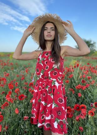 Сарафан цветочный принт красный маки мини