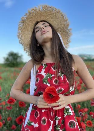 Сарафан цветочный принт красный маки мини2 фото