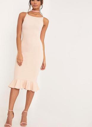 Пудровое платье | платье миди | платье рыбка | платье | розовое платье