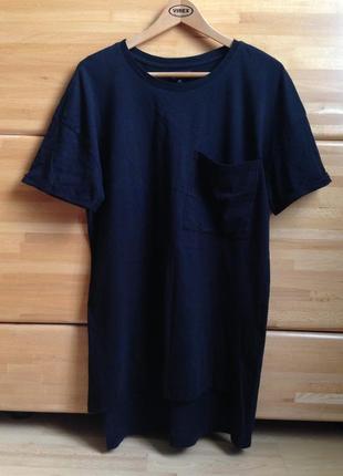 Футболка длинная платье удлиненная черная с карманом бойфренд прямого свободного кроя оверсайз