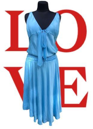 Шикарное итальянское платье небесного цвета☁️ шёлковое восточный стиль бохо шик