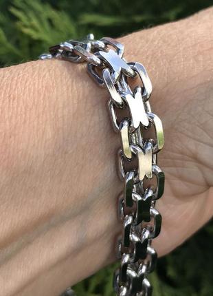 Браслет серебряный мужской, серебро 925 проба, размер 24