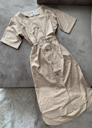 Нюдовое базовое платье сафари