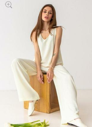 Белые широкие брюки / палаццо