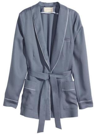Пиджак, блейзер на запах под пояс, жакет в пижамном стиле. h&m conscious