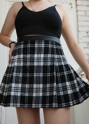 Юбка клетчатая юбка в клетку короткая юбка мини юбка в клетку