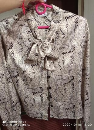 Очень красивая винтажная  блузка, рубашка, с буфами р 8-10