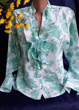 Блуза рубашка блузка цветочный принт натуральный хлопок жабо зелень