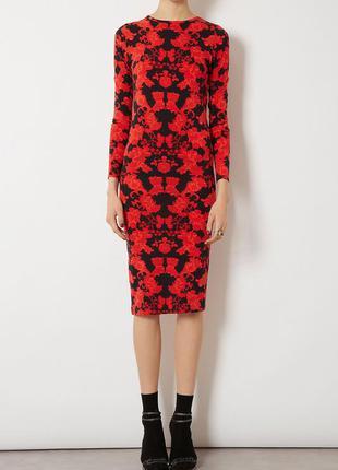 Новое роскошное платье миди в узоры topshop