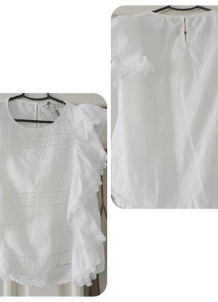 Хлопковая блуза из прошвы 36р белая