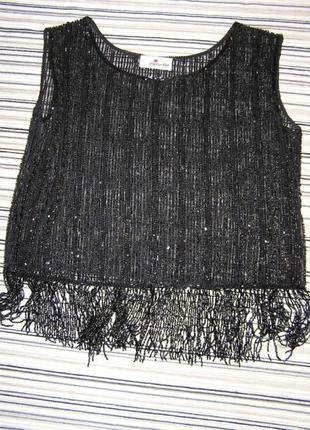 Уникальная чёрная блуза без рукавов, полностью обшитая бисером и пайетками