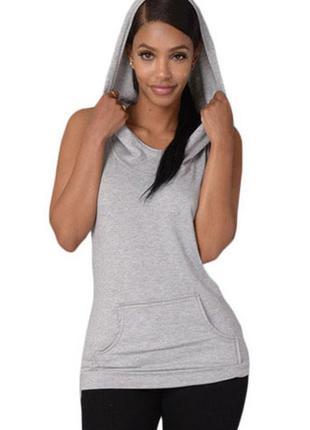 Спортивная футболка с капюшоном спортик спортивка серая с карманами new look