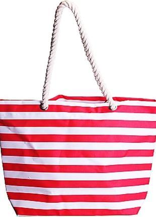 Пляжная полосатая сумка в красную полоску