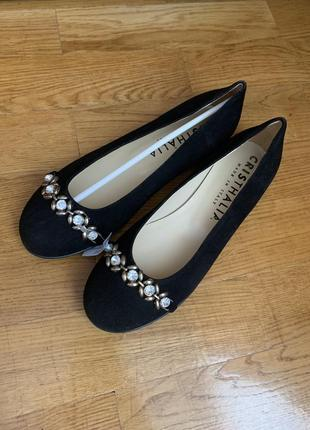 Идеальные женские балетки туфли чёрные замшевые