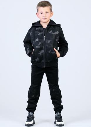 Джинсовая куртка джинсовка камуфляжная для мальчика на рост 122, 128, 134, 140, 146, 1523 фото